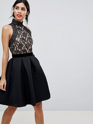 Little Mistress Fit And Flare Dress With Foiled Lace Top