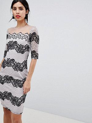 Little Mistress Bodycon Dress In Two Tone Lace Stripe - Monochrome