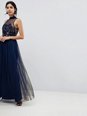 Little Mistress Maxi Dress With Floral Applique - Navy
