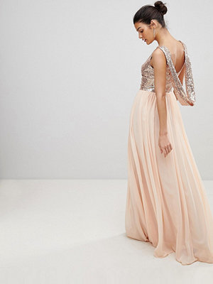 City Goddess Cowl Back Sequin And Chiffon Maxi Dress - Pale pink