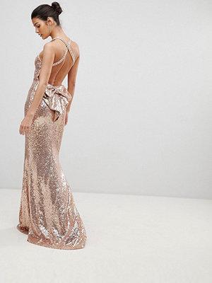 City Goddess Bow Detail Sequin Maxi Dress