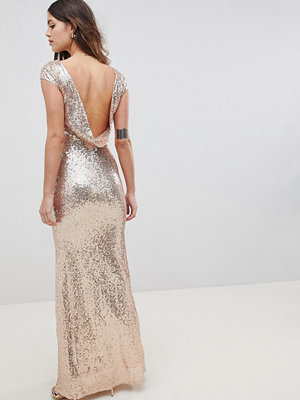 City Goddess Open Back Sequin Maxi Dress