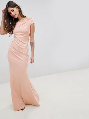 City Goddess Fishtail Maxi Dress With Pleating Detail - Pale pink