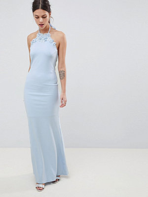 City Goddess Halter Neck Maxi Dress With Flower Detail - Baby blue