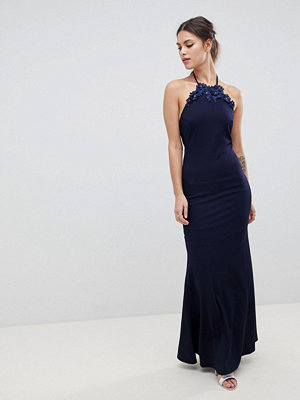 City Goddess Halter Neck Maxi Dress With Flower Detail