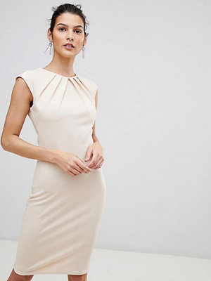 City Goddess Pleated Neckline Cap Sleeve Midi Dress