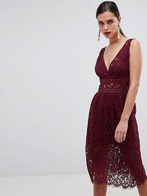 Y.a.s Lace Skater Dress - Burgundy