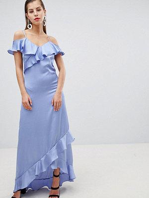 Y.a.s Satin Cold Shoulder Frill Maxi Dress