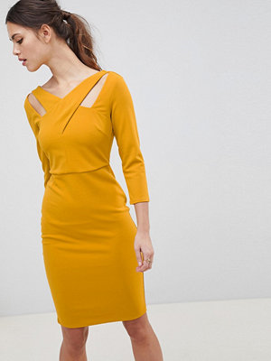 City Goddess Cross Over Midi Dress - Mustard
