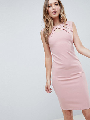City Goddess Pleated Keyhole Midi Dress - Pale pink