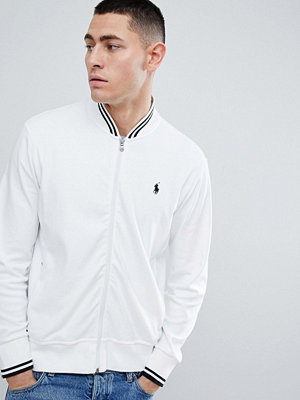 Polo Ralph Lauren Zipthru Tipped Sweat Bomber Jacket Polo Player in White/Black - Pure white