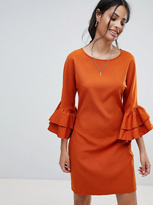 Parisian Shift Dress With Frill Sleeve - Rust