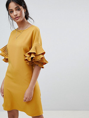 Parisian Shift Dress With Frill Sleeve - Mustard