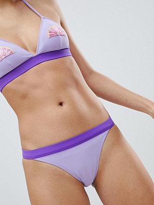 Monki Tanga Contrast Bikini Bottoms - Purple contrast
