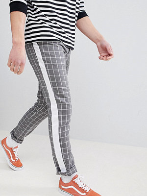 ASOS DESIGN Slim Trousers In Grey Check With Side Stripe - Grey