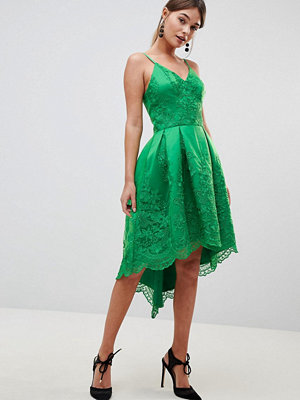 Chi Chi London Premium Lace Dress with Cami Strap - Bright green