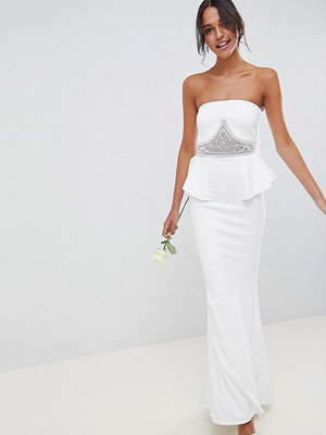 City Goddess Wedding Peplum Maxi Dress With Embellished Detail