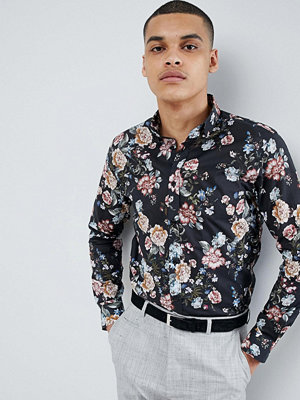Selected Homme Smart Shirt With All Over Print In Slim Fit - Black aop