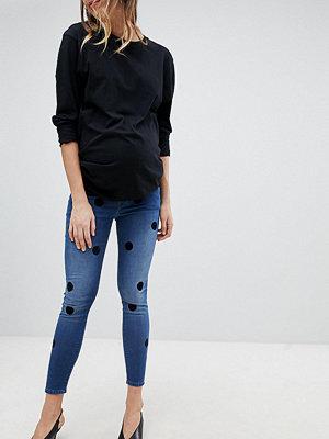 ASOS Maternity Ridley Mörka stentvättade skinny jeans med hög midja och stora velourprickar Mörkblå