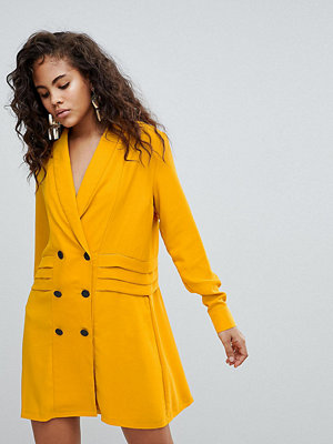 Asos Tall ASOS DESIGN Tall Tux Dress With Pleat Detail - Mustard