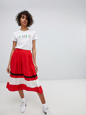 Neon Rose Pleated Midi Skirt With Sports Stripe