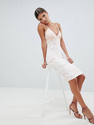 Girl In Mind Lace Cross Strap Midi Dress - Blush
