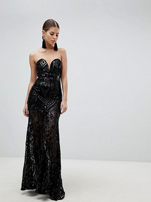 Girl In Mind Sequin Strapless Evening Maxi Dress