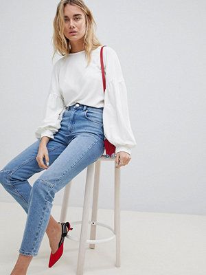 ASOS DESIGN Farleigh High Waist Slim Mom Jeans In Mid Wash With Knee Seam Detail - Stephanie