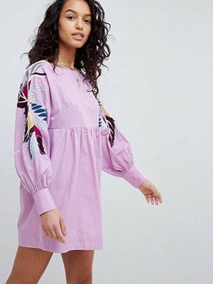 Free People Mini Obsessions Floral Mutton Sleeve Dress - Purple combo