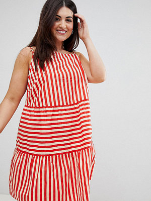 ASOS Curve ASOS DESIGN Curve Cotton Tiered Mini Sundress In Stripe
