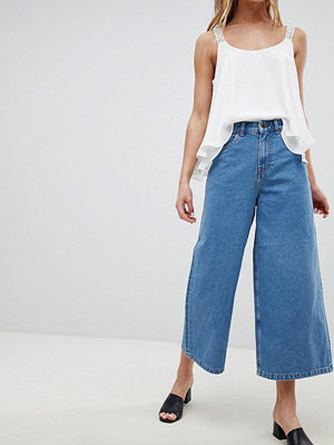 Only Wiky High Waisted Wide Leg Jeans - Med blue denim