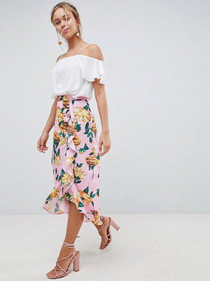 ASOS DESIGN chiffon midi skirt with button and frill detail in floral print