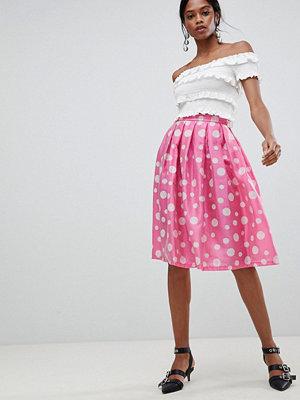 Liquorish Polka Dot Pleated Prom Skirt - Pink polka