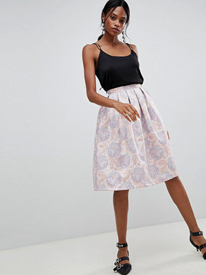 Liquorish Floral Jaquard Pleated Prom Skirt - Pink jaquard