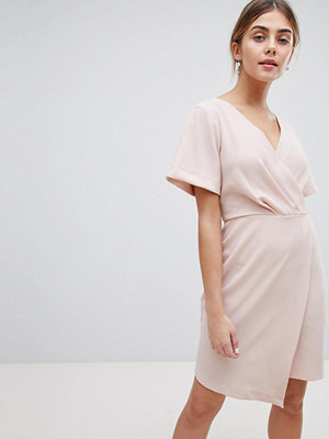 Closet London Wrap Front Mini Shift Dress - Nude