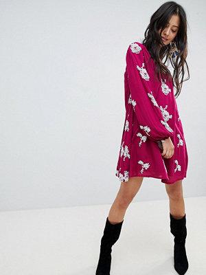 Free People Emma Floral Print Dress - Purple combo