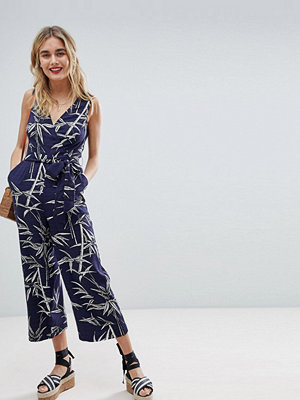 Warehouse Bamboo Print Culotte Jumpsuit
