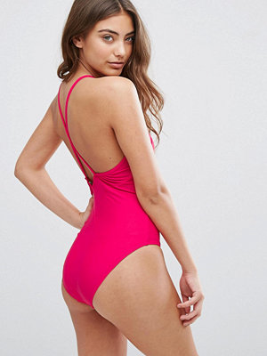 French Connection Contrast Trim Swimsuit - Passion pink