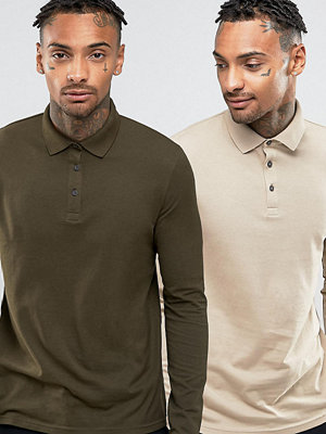 ASOS 2 Pack Long Sleeve Jersey Polo SAVE - Beige