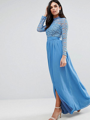 Club L High Neck Crochet Lace Maxi Dress - Duck egg