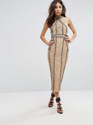 PrettyLittleThing Premium All Over Embellished Halterneck Midi Dress
