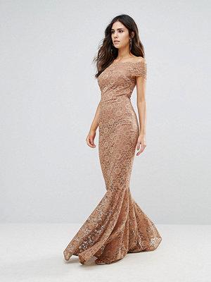 City Goddess Bardot Lace Fishtail Dress - Mocha