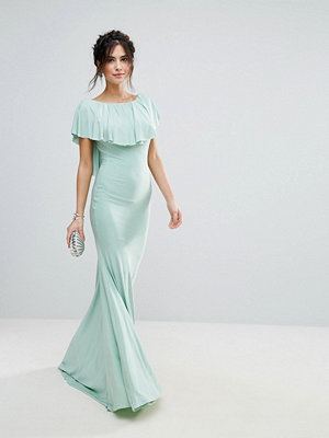 City Goddess Fishtail Maxi Dress With Cape Overlay - Mint
