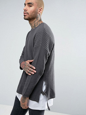 ASOS Longline Textured Jumper with Side Straps - Charcoal