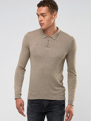 ASOS Knitted Muscle Fit Polo In Oatmeal - Oatmeal