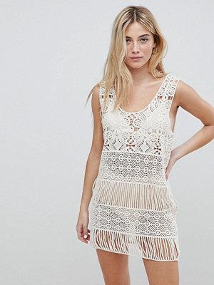 Brave Soul Crochet Cover-Up Dress - Cream