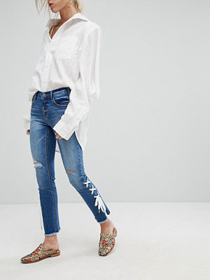 Current Air Cropped Straight Leg Jean with Lace Up Detail