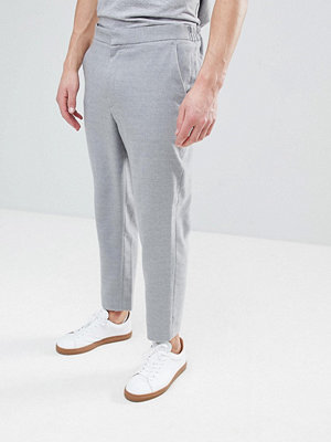 ASOS Tapered Smart Trouser In Light Grey Texture With Elasticated Back - Light grey