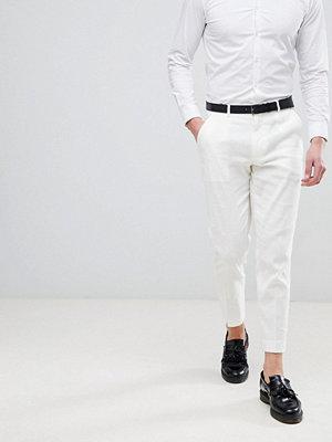 ASOS DESIGN Skinny Crop Smart Trousers In White Linen