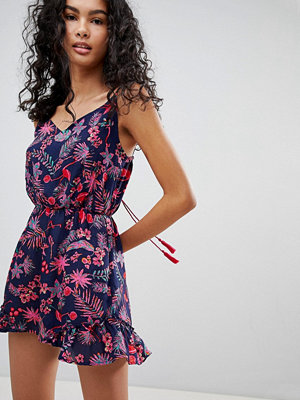 Brave Soul Flamingo Print Playsuit with Tie Back Detail